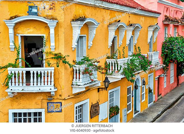 typical colorful facades with balconys of houses in Cartagena de Indias, Colombia, South America - Cartagena de Indias, Colombia, 27/08/2017