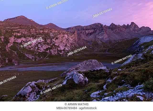 View of UNESCO World Heritage natural site Tektonikarena Sardona near Flims, Grisons, Switzerland