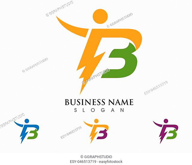 B Letter Lightning Logo Template vector icon illustration design