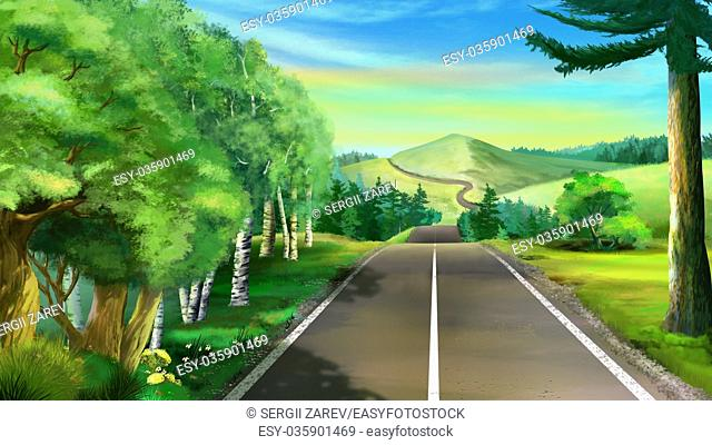 Digital painting of the road to a mountain