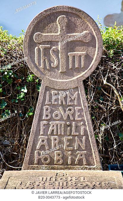 Discoidal stele Basque, Funeral stele, Cemetery, Sara, Pyrénées-Atlantiques department, Aquitaine region, France, Europe