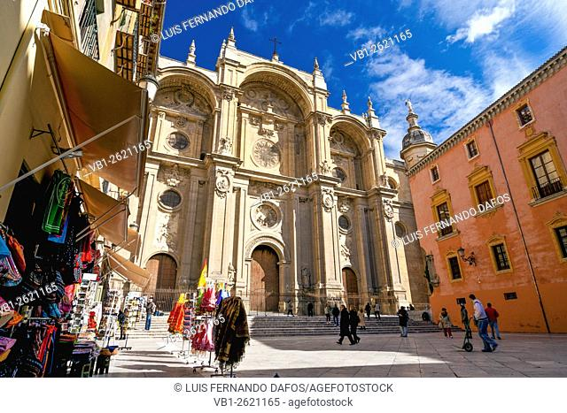 Cathedral and Archibishop Palace in Pasiegas Square, Granada, Andalusia, Spain