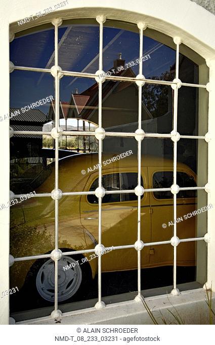 Window in front of a car, Matjiesfontein Transport Museum, Matjiesfontein, Western Cape Province, South Africa