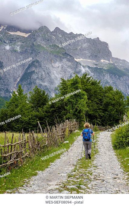 Albania, Shkoder County, Albanian Alps, Theth National Park, Theth, female hiker