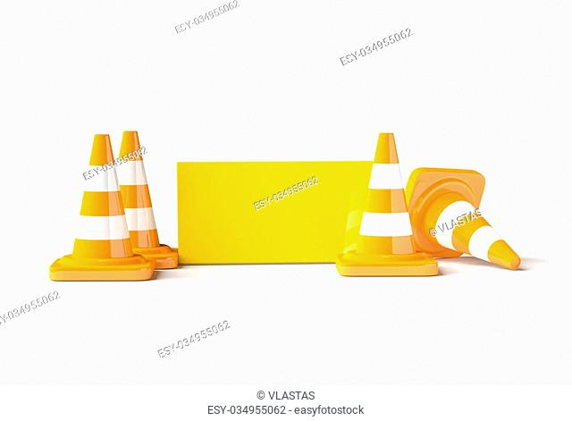 Traffic cones with work helmet and informatic table isolated on the white. 3D render image