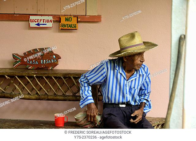 Old man in Livingston, Rio Dulce , Guatemala, Central America