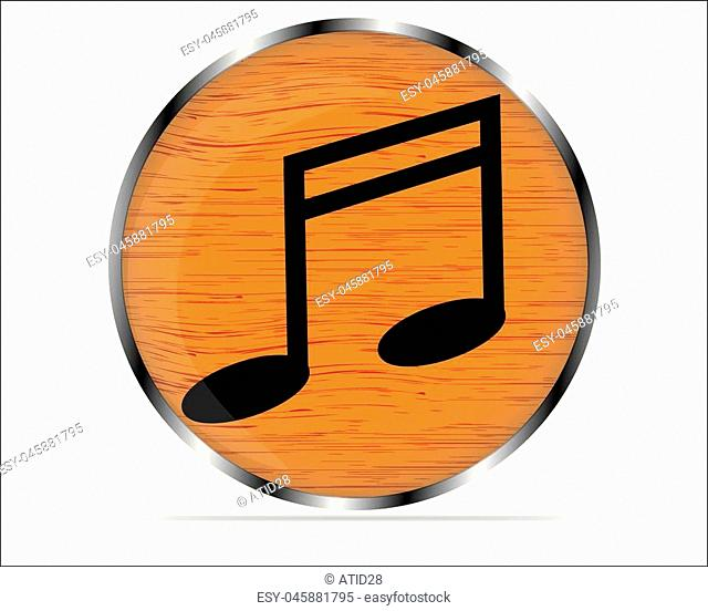 Vector wood multimedia musical note icon / button, design element