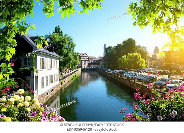Cityscape of Strasbourg in warm summer day, France