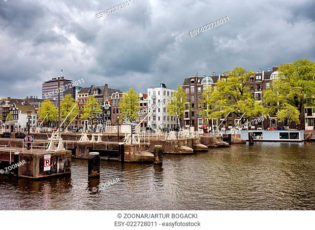 Amsterdam Skyline from the Amstel River