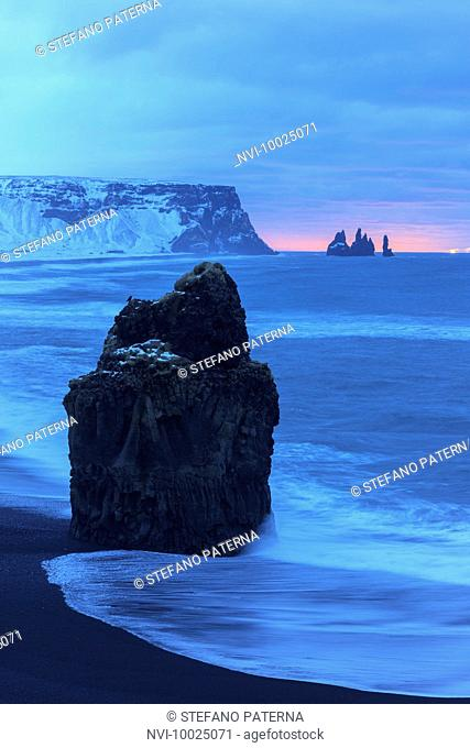 View from Dyrholaey to Mount Reynisfjall and Reynisdrangar Rocks, Iceland