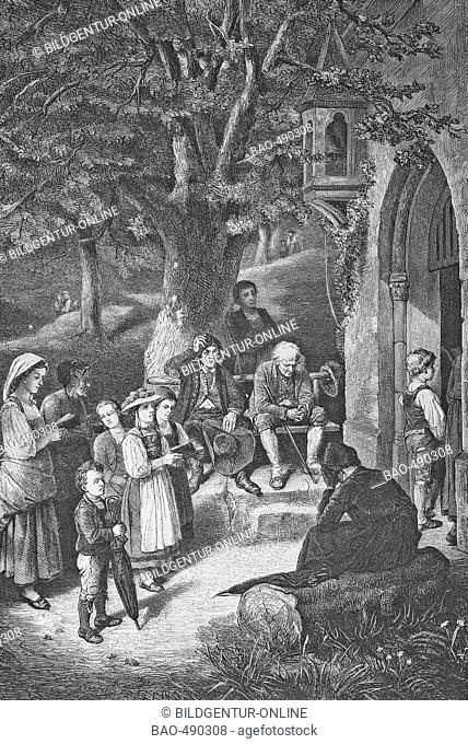 Holy Image, historic steel engraving from a bible 1860