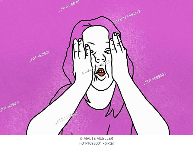 Illustration of woman with head in hands against pink background