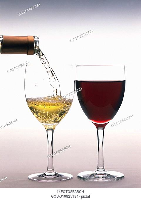 Red Wine and Poured White Wine