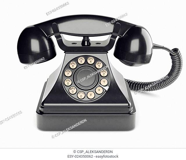 Black retro phone isolated on white background 3d
