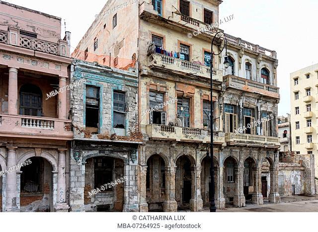 Cuba, Havana, La Habana, Malecon, dilapidated facades