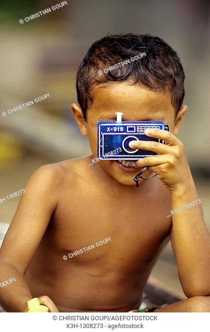 little boy with a facticious camera, Sumatra island, Republic of Indonesia, Southeast Asia and Oceania