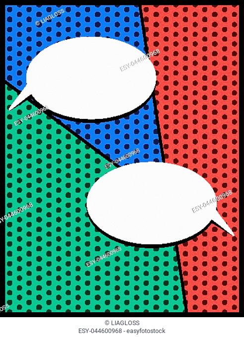 Pop art empty speech bubbles on colorful background. Vector illustration, vintage design, pop art style