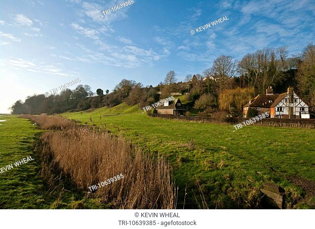 A View Of Winchelsea Over The Marshland East Sussex England