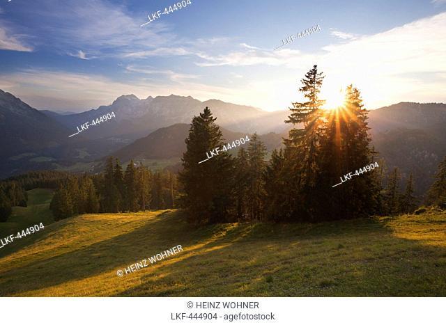 View to Reiteralpe at sunset, near Ramsau, Berchtesgaden region, Berchtesgaden National Park, Upper Bavaria, Germany