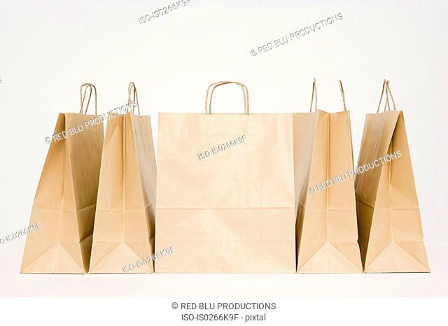 Paper bags in a row
