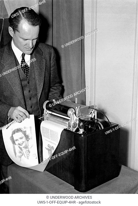United States: February 17, 1938.Charles Young, RCA Victor research engineer, has developed a simplified radio facsimile receiver and printer for home use