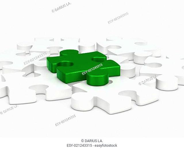3d green puzzle piece