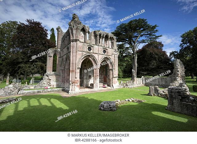 Final resting place of poet and writer Sir Walter Scott, Dryburgh Abbey, St Boswells, Borders District, Scotland, United Kingdom