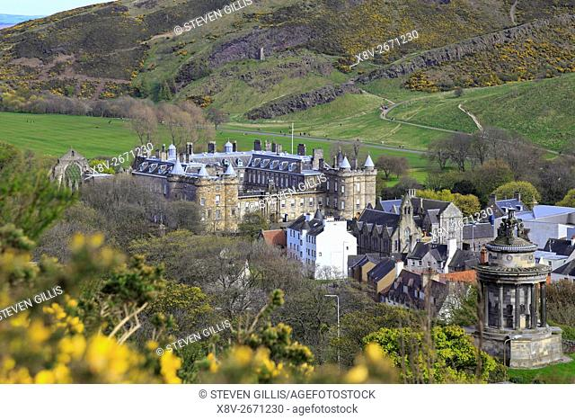 The Burns Monument and Holyrood Palace from Calton Hill, Edinburgh, Scotland, UK