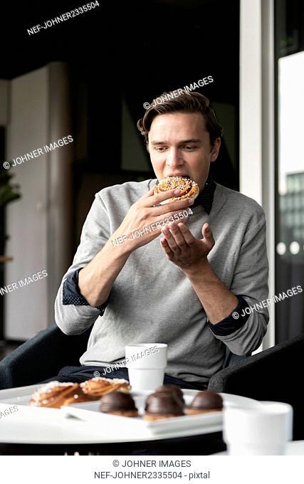 Man having coffee break