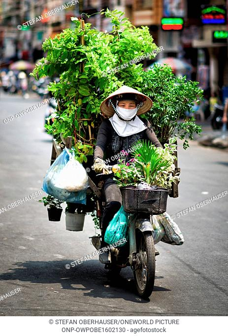 Vietnam, Ho Chi Minh City, Vietnamese florist on her highly loaded scooter