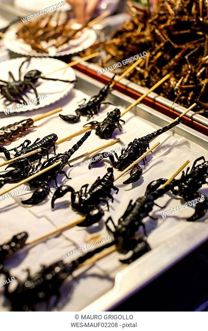 Thailand, Bangkok, insects for sale on a market