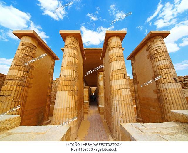 Colonnade archeological remains, Saqqara necropolis, near Memphis, Egypt
