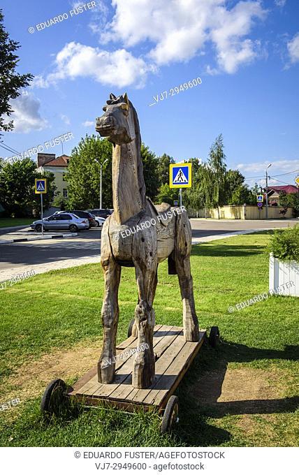 Russia, Kolomna. Troya horse statue