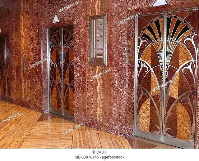 USA, New York city Chrysler Building indoors, elevators, doors, skillfully, Art Däco, America, city, Manhattan, buildings, high-rise, skyscrapers, inner-opinion