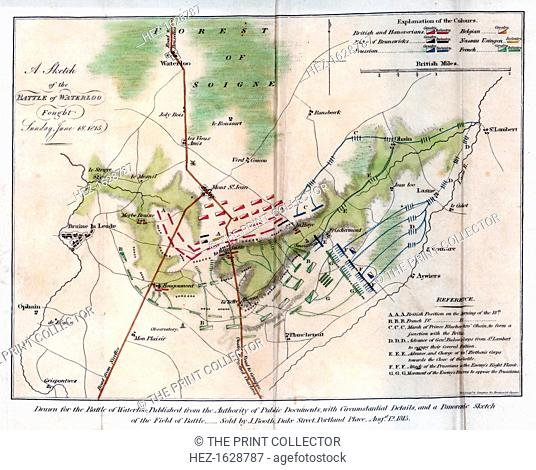 The Battle of Waterloo, 1815 (1816). Sketch showing the battlefield. The Battle of Waterloo, fought on 18 June 1815, was Napoleon Bonaparte's last battle