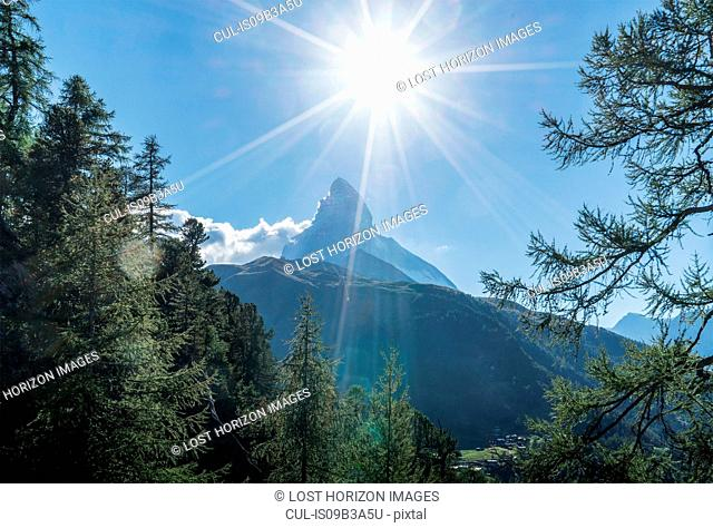 Sunlit view of Matterhorn, Zermatt, Canton Wallis, Switzerland