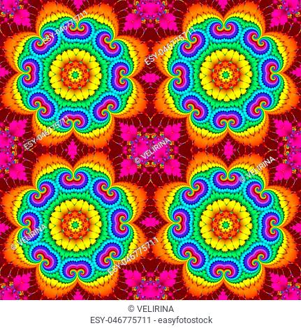 Colorful abstract seamless pattern with floral circle ornament. You can use it for invitations, notebook covers, phone case, postcards, cards, ceramics