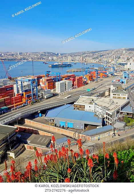 Chile, Valparaiso, Elevated view of the harbour from the Artilleria Hill