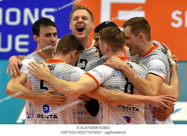 Players of Karlovarsko are seen during the 6th round group B of volleyball Champions League match Karlovarsko vs Modena in Karlovy Vary, Czech Republic