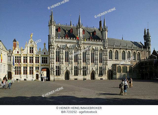 The town hall, castle, Bruges, Flanders, Belgium, Europe