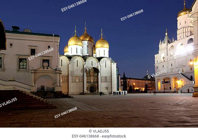 Assumption Cathedral (was the site of coronation of Russian tsars) at night. Cathedral Square, Inside of Moscow Kremlin, Russia
