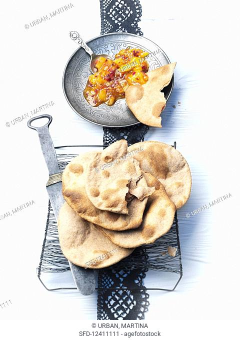 Chapati (unleavened Indian bread) with chutney