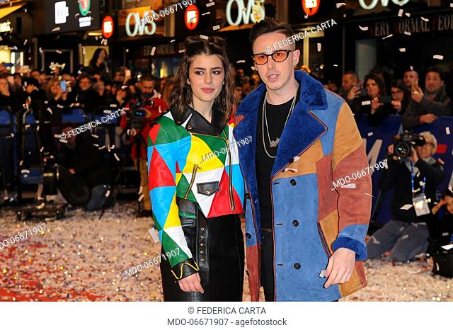 Federica Carta and Shade on the Red Carpet of the 69th Sanremo Music Festival. Sanremo (Italy), Fabruary 4th, 2019