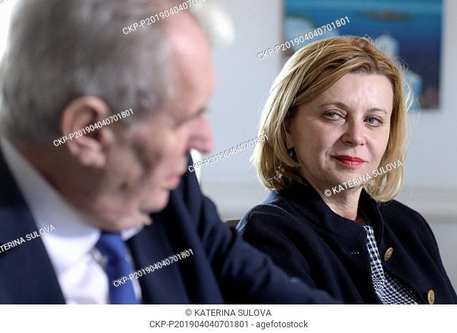 Czech President Milos Zeman (left) and Czech Ambassadress to Austria Ivana Cervenkova (right) talk with journalists during a press conference on last day of...