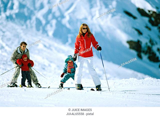 Family on skis