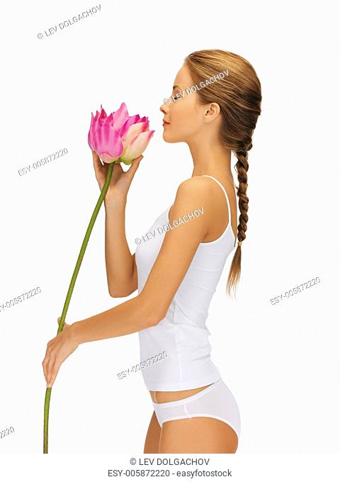 bright picture of lovely woman with lotus flower