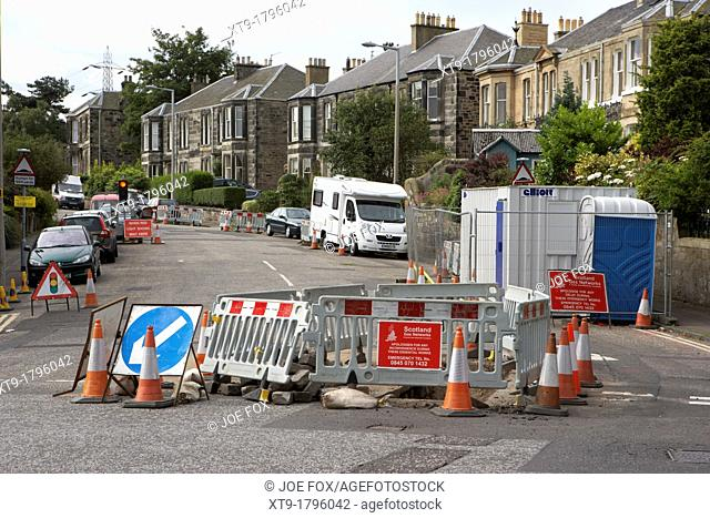 roadworks repairing gas mains in edinburgh, scotland, uk, united kingdom