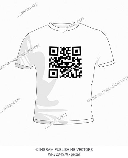 Business qr code concept with white T Shirt