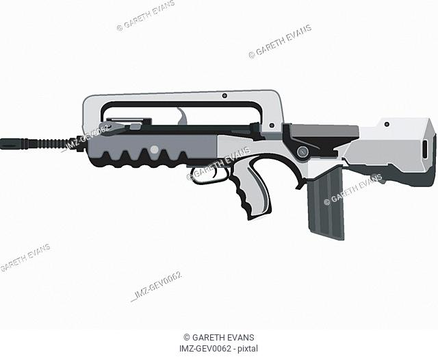 A closeup of a FAMAS-F1 assault rifle widely used in the French military