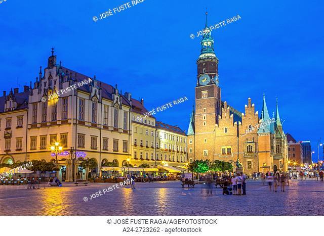Poland, Wroclaw City, Market Square, Town Hall Bldg. Rynek,